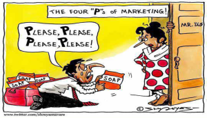 4 Ps of marketing cartoon
